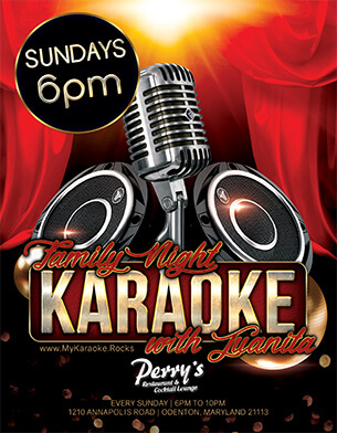 Family Niht Karaoke with Juanita at Perrys in Odenton Maryland